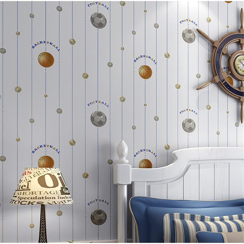 beibehang New children room wallpaper cartoon non-woven striped wallpaper basketball football boy bedroom background wall paper beibehang wallpaper high grade environmental protection non woven wallpaper girl boy room room striped wall paper car children