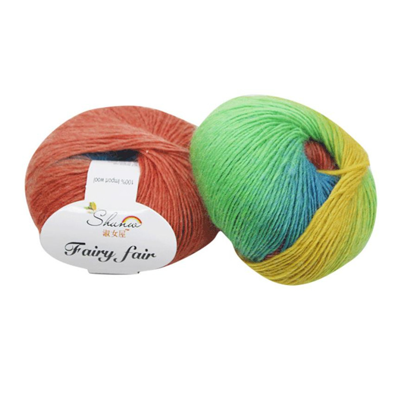 1 Roll color 50g Chunky Hand-woven Rainbow Colorful Scores Wool Blend Yarn Knitting String Cord Weaving String Line Colorful