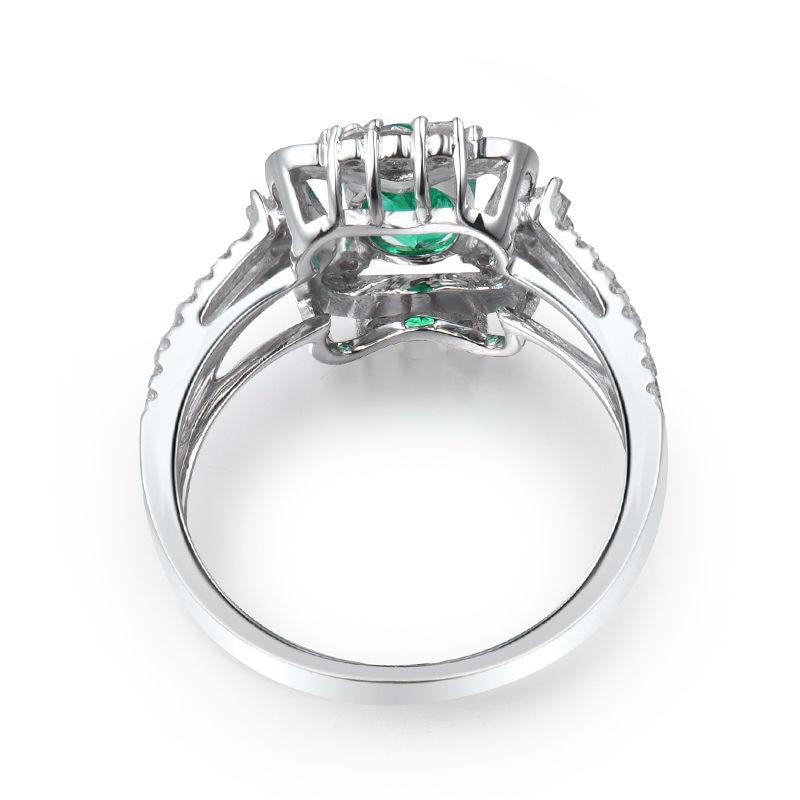 Yeni Dizayn Oval 5x7mm Təbii Zümrüd Diamond Ring 18K Ağ Qızıl - Gözəl zərgərlik - Fotoqrafiya 2