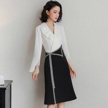 c13cbf87e77 Винтаж платье Для женщин тонкий длинный рукав линия офисное платье  элегантные женские офисные платье в деловом стиле Ol Vestidos