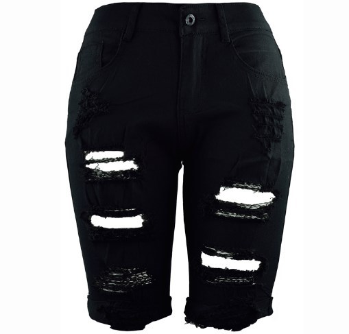 new pencil ripped holes Denim shorts Women Plus Size Summer Style Women slim Knee Length Long Shorts Cutting Short Jeans
