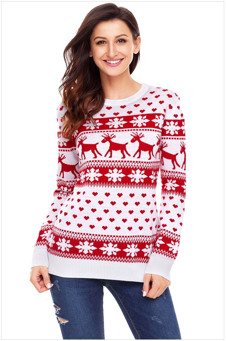 Laamei Christmas Warm Jumper Sweater Brief Sweater Clothing With Reindeer Lady Pullover Tops Coat Autumn Winter Women Sweater