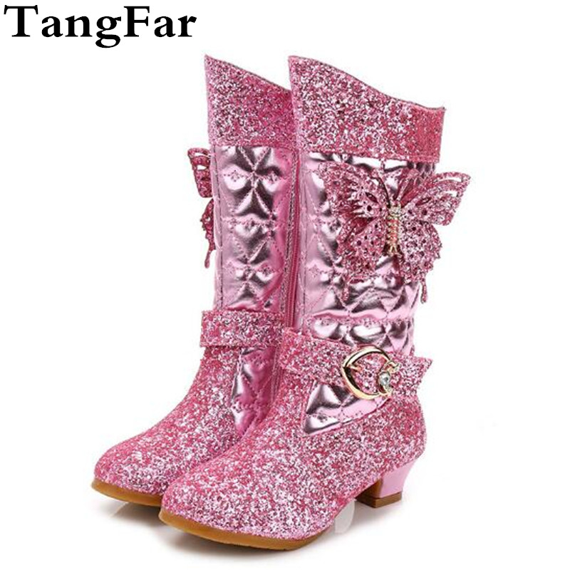 Girls High Heel Knee High Boots Rhinestone Bow Children Party Dress Shoes Warm Short Velvet Kids Cosplay Princess Snow Boot