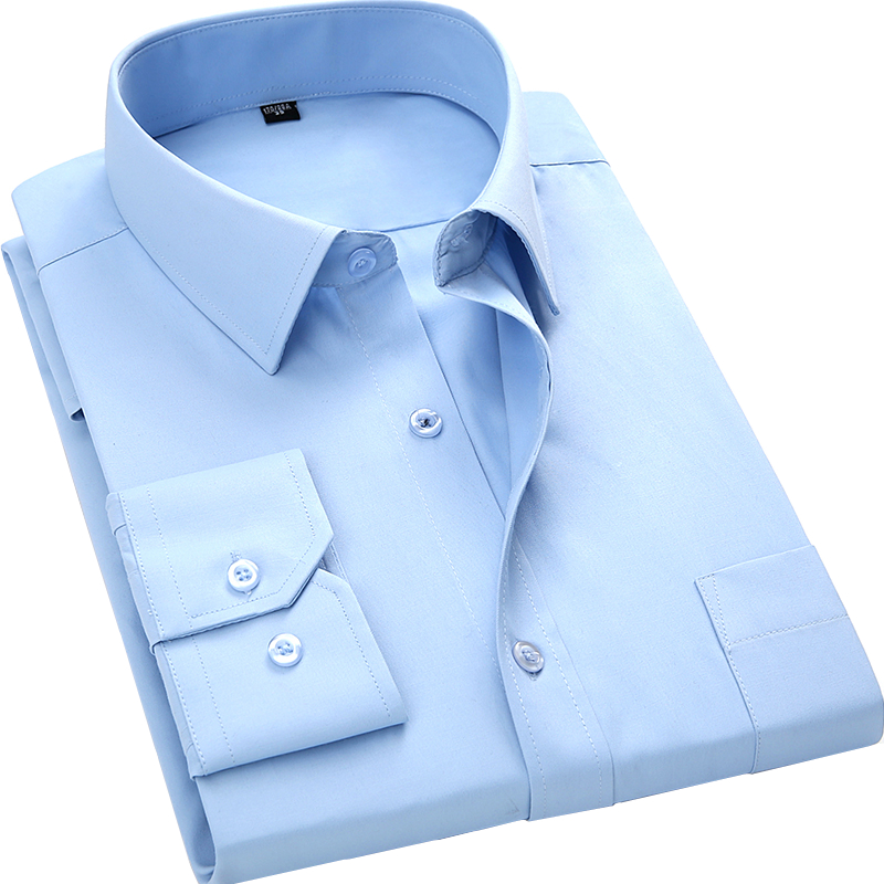 2019 New Men Business Casual Long Sleeved Shirt Male Solid Color Dress Shirt Slim Fit Chemise Homme Camisa Social Masculina
