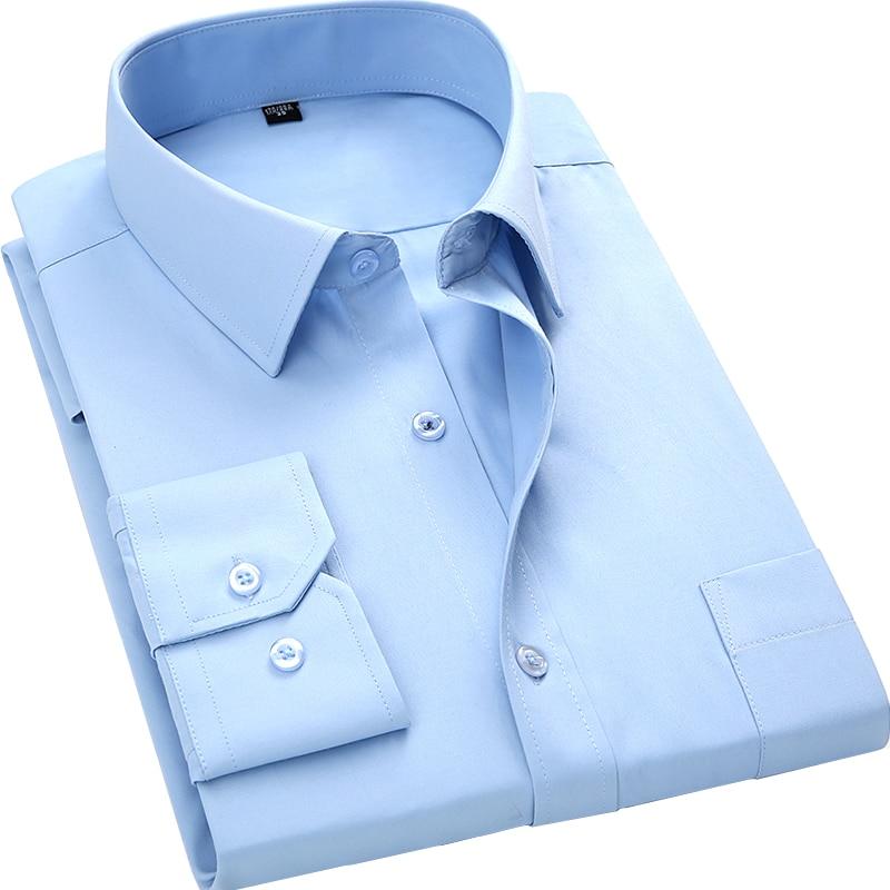 2019 Burra të Ri të Biznesit Rastesor me mëngë të gjata, Mashkull, Fustan i ngurtë me ngjyra të ngurta, Këmishë e hollë Fit Chemise Homme Camisa Masculina Sociale