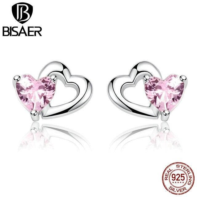 100 925 Sterling Silver Love Shape Shinning Pink Zircon Heart Stud Earrings Women Jewelry