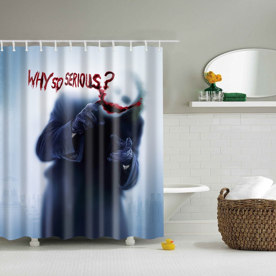 Papa&Mima why so serious printed Waterproof Shower Curtains Polyester Bathroom Curtains With Hooks 180x180cm Decorative Bathtub