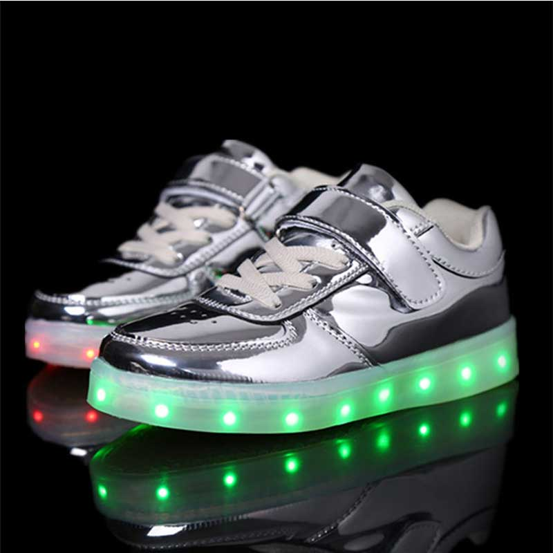 Solid Color Kids Shoes with Luminous Sneakers Hook&Loop Shoes for Boys Girls Fashion Children Glowing Sneakers size 26-37 hobibear classic sport kids shoes girls school sneakers fashion active shoes for boys trainers all season 26 37