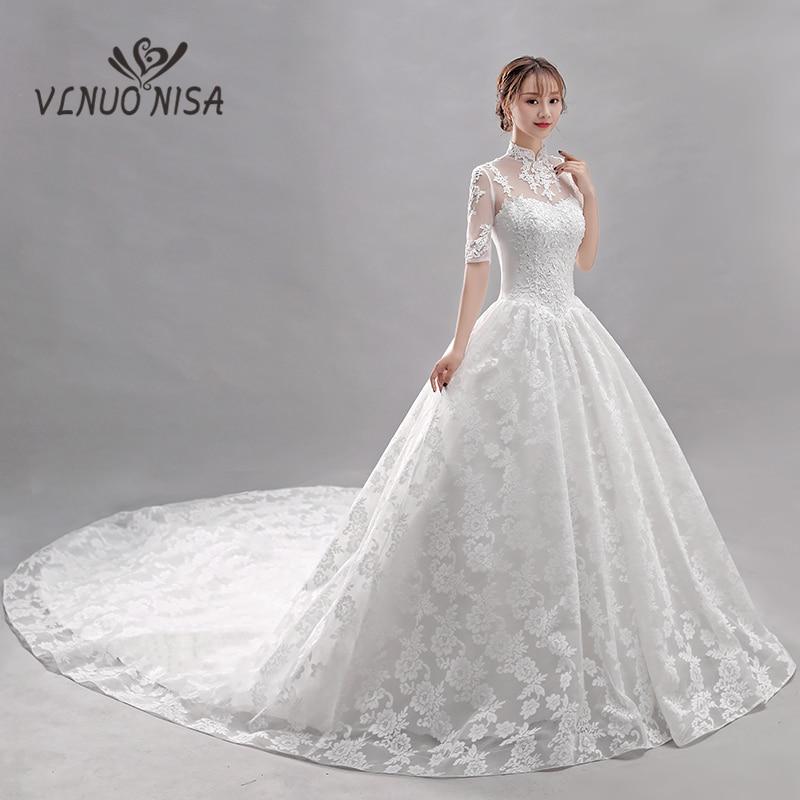 Hot Sale Royal Train Wedding Dress VLNUO NISA Elegant High Neck Lace Up Bridal Ball Gown Delicate Lace Bridal Dress 35