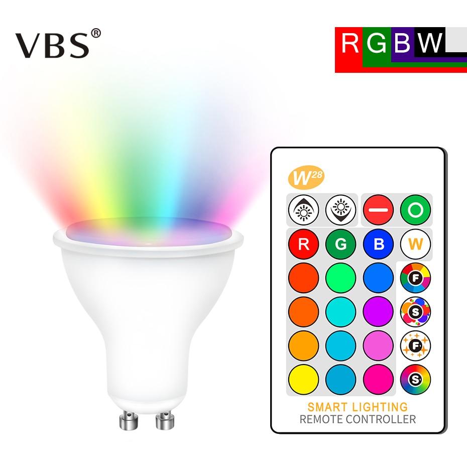 8W RGB Led Bulb Lamp AC85-265V GU10 RGBW LED Spot Light Dimmable Magic RGB Bulb With IR Remote Control 16 Colors Lampada Led