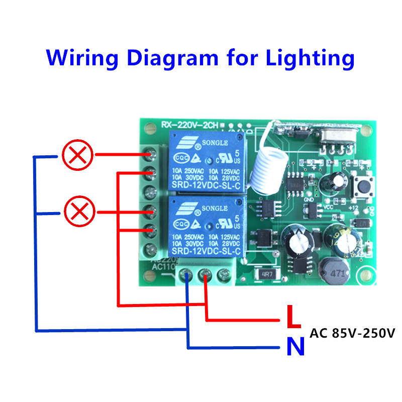 433mhz Universal Wireless Remote Control Switch Ac 250v 110v 220v 2ch Relay Receiver Module And 4pcs Rf 433 Mhz Controlsin Controls From: Remote Control 12v Dc Switch Wiring Diagram At Eklablog.co