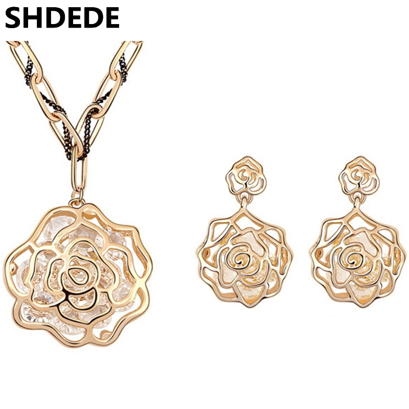 Dubai Jewelry Sets Champagne Color Vintage Necklace Earrings Rhinestone Rose Flower Long Chain Necklace Pendants 6663