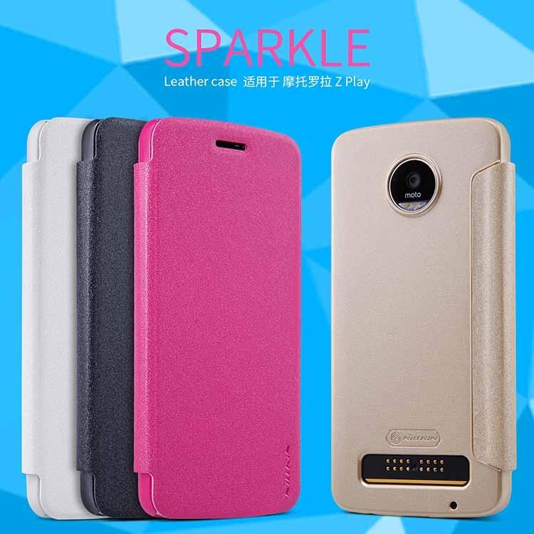 For Motorola Moto Z Play Case NILLKIN Sparkle Series Plastic PU Leather Case for Motorola Moto Z Play 5.5inch mobile phone case