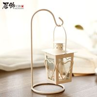 decoration retro Cafe outdoor decorative wrought iron lantern Home Furnishing European romantic candle accessories