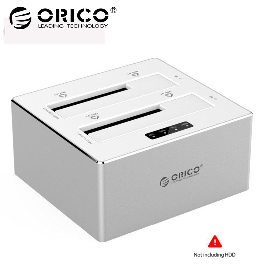 ORICO 2.5/3.5 inch HDD Case Aluminum External HDD Docking Station Enclosure Case Box USB3.0 to SATA Dual-Bay Offline Clone 16TB orico 3 5 inch diy hdd enclosure adapter usb 3 0 3 1 type c to sata aluminum dual bay single bay hard drive box external case