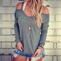 2017 New Fashion Women S Autumn Loose O Neck Long Sleeve Off Shoulder Knitted Sweater