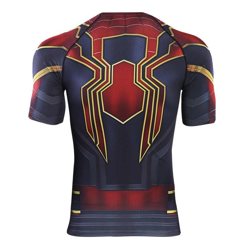 Avengers 4 Spider Man 3D Dicetak T Kemeja Kompresi Kemeja 2019 Raglan Lengan Pendek Komik Cosplay Kostum Atasan Pria