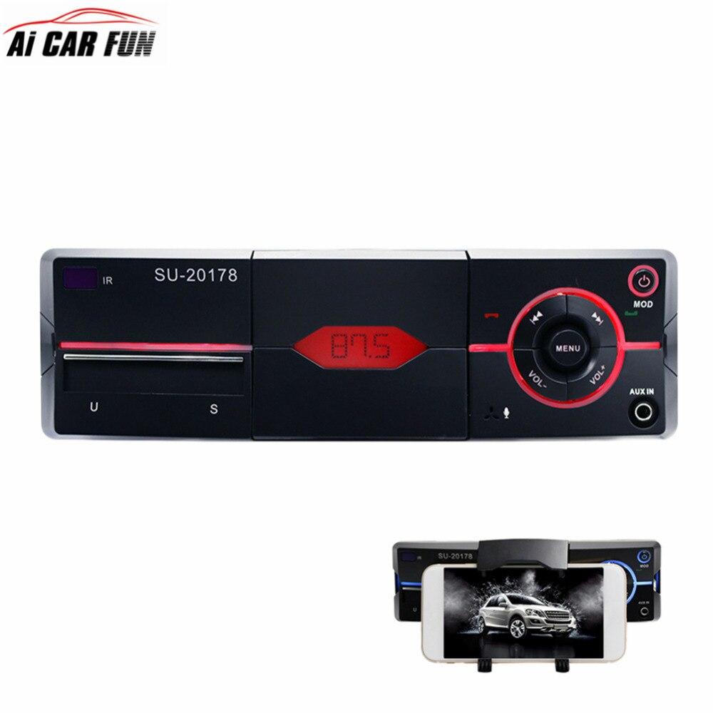 SU-20178 Bluetooth 1Din voiture lecteur MP3 autoradio stéréo lecteur Audio avec coupure tenant téléphone fonction Radio télécommande