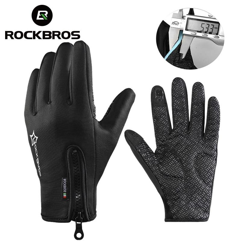 ROCKBROS Anti-slip Snowboard Ski Gloves Thermal Waterproof Touch Sreen Skiing Gloves Snow Winter Bike Cycling Bicycle Gloves Men