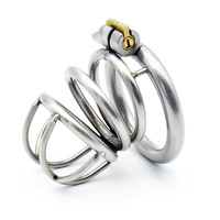 1pcs Stainless steel Male men Chastity Lock Penis Ring Cock Cages Ring Lock Belt Sex Toy for Men Penis Sleeve