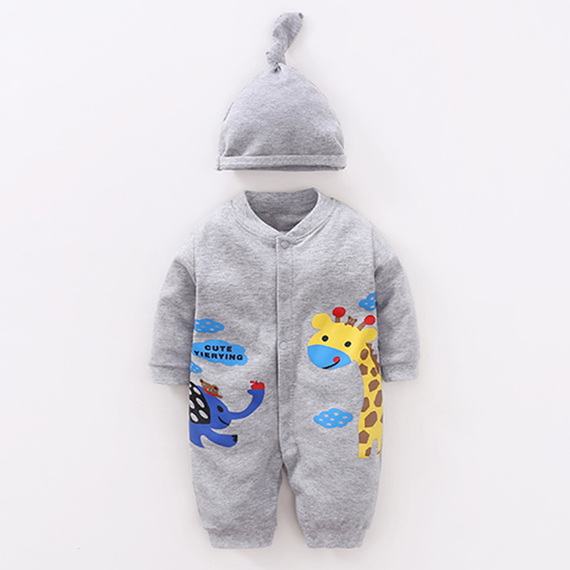 YiErYing Newborn Jumpsuits Thicker Autumn 100% Cotton Long Sleeve 2Pc Hat+Baby Romper Ba ...