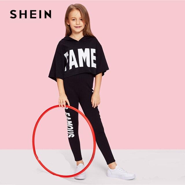 Шеин Черный Письмо печати с капюшоном топ и брюки для девочек комплект одежда 2019 Весенняя модная одежда активных Половина рукава детск