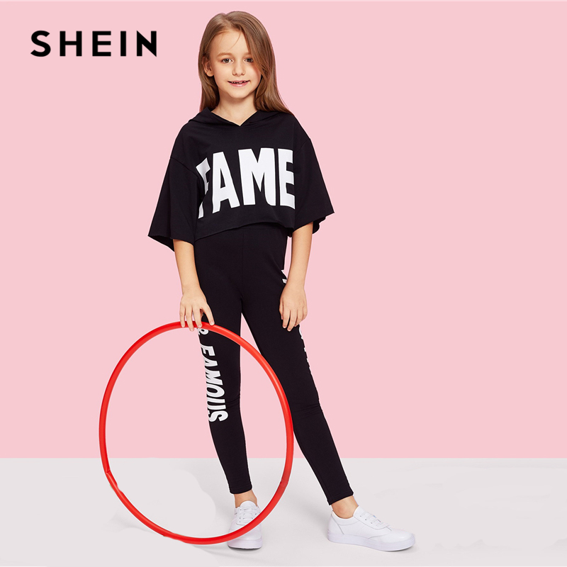 SHEIN Black Letter Print Hooded Top And Pants Set Girls Clothes 2019 Spring Fashion Active Wear Half Sleeve Kids Clothing retro rose print letter sleeveless fit and flare dress