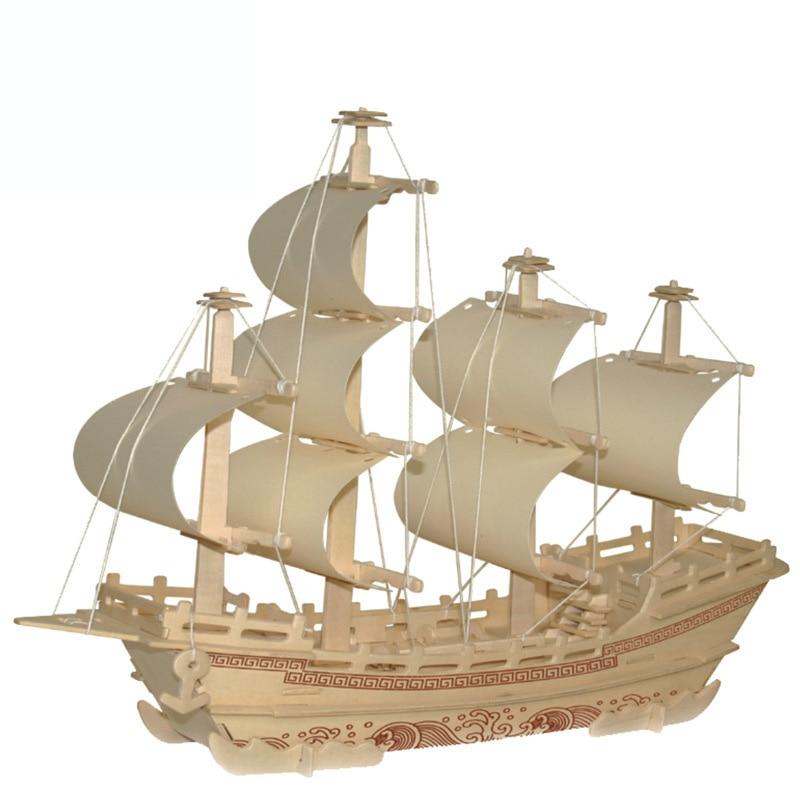 Noul vas de lemn 3D Puzzle DIY Modelul de asamblare pentru copii Jucarii educaționale Produse asamblate Dimensiune 40 * 10 * 35cm