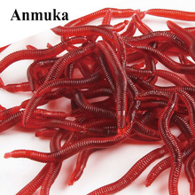 Anmuka Hot Selling! 50Pcs/Lot 9grams Earthworm Plastic Lures Artificial Fishing Bionic Soft Lures Red Worms Bait Fishing Lure