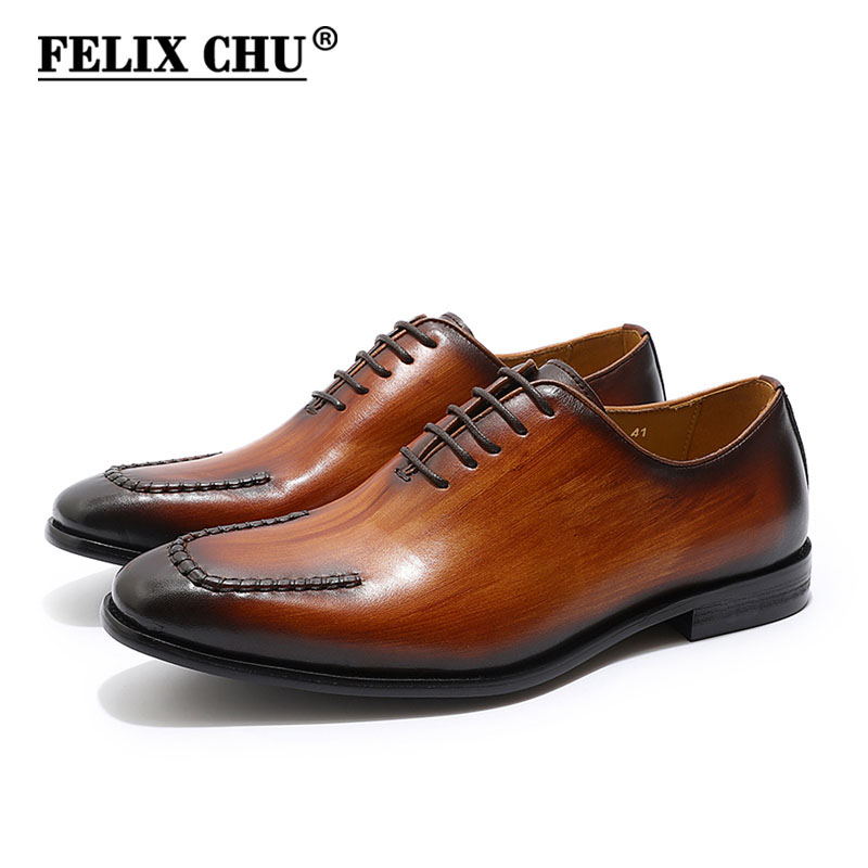 FELIX CHU Brand U Design Mens Oxfords Genuine Leather Whole Cut Lace Up Men's Formal Shoes Wedding Party Office Dress Shoes openwork u pouch design high cut briefs