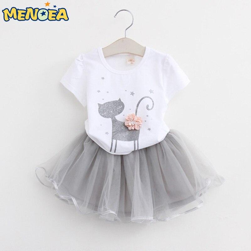 Menoea 2016 <font><b>Autumn</b></font> New Baby Girls Clothing Sets Fashion Style Cartoon <font><b>Kitten</b></font> Printed T-Shirts+Net Veil Dress 2Pcs Girls Clothes