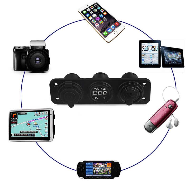 Dual USB Adaptor Car Charger Motorcycle Plug + 12V/24V Cigarette Lighter Socket Blue LED +Digital Voltmeter Mobile Phone