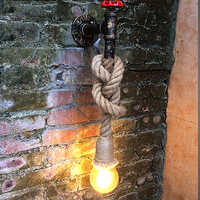 pipe rope wall lamp Loft decor industrial iron for Kitchen Bedroom Living room vintage Restaurant Bar vanity light