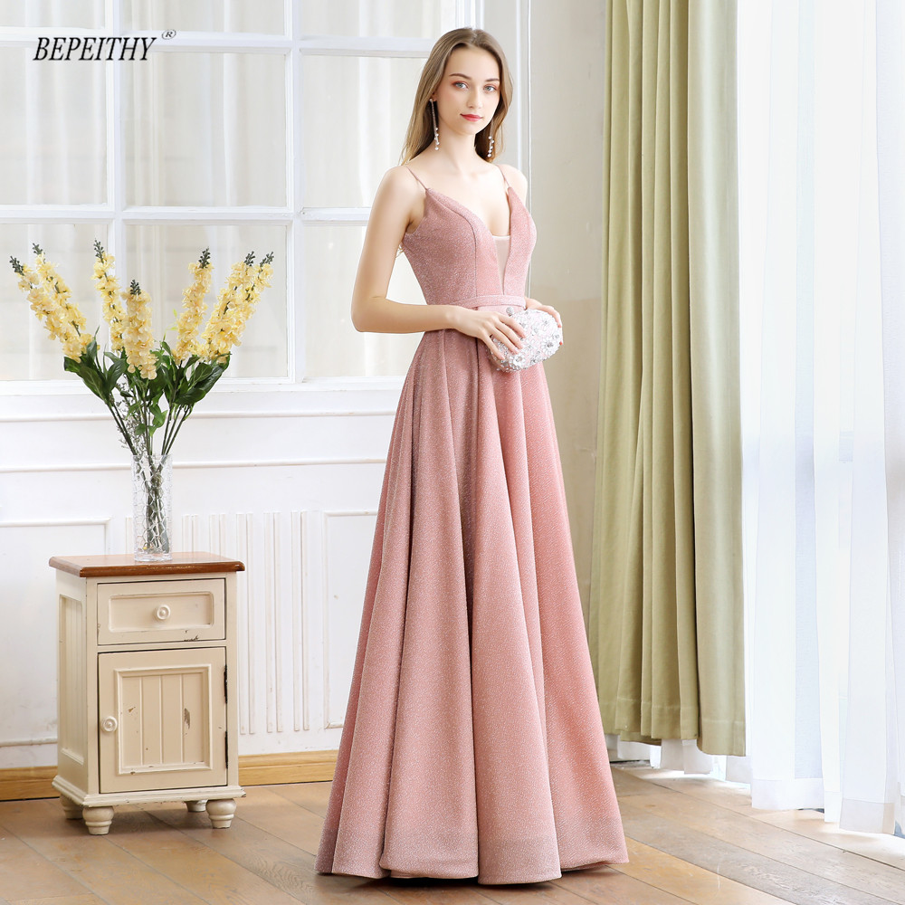 Robe De Soiree 2019 V neck Reflective Fabric Long Evening Dress Party Elegant Sexy Backless Abiye