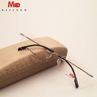2016 New High Quality Meeshow Rimless Glasses 100 Cpure Titanium Optical Frame B Titanium Eyeglasses Free