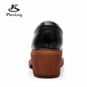Image 4 - Yinzo Women oxford pumps shoes vintage genuine leather lady Pumps oxford heels shoes for women black brown shoes 2020 spring