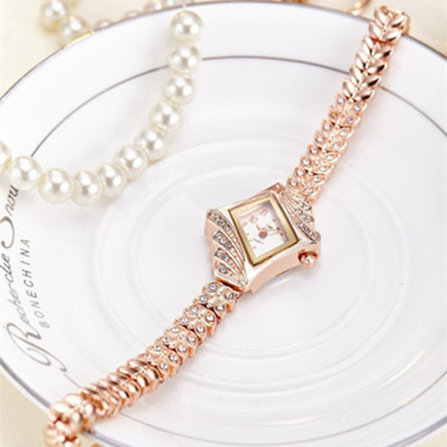Women Rhinestone Gold Dress Watch