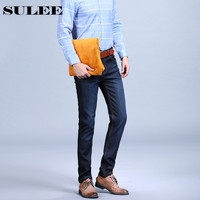 SULEE 2017 Mens Qualität Winter Golden Fleece Flanell Denim Gerade Verdicken Wolle innen Denim Jeans Warme Fleece Jean Plus Größe