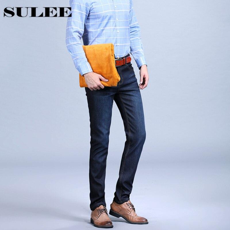 SULEE 2017Mens Quality Winter Golden Fleece Flannel  Denim Straight Thicken Wool inside  Denim Jeans Warm Fleece Jean Plus Size