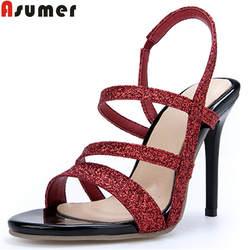 ASUMER/Большие размеры 34-46, модная летняя новая обувь женские босоножки на очень высоком каблуке Женская Классическая Свадебная обувь для