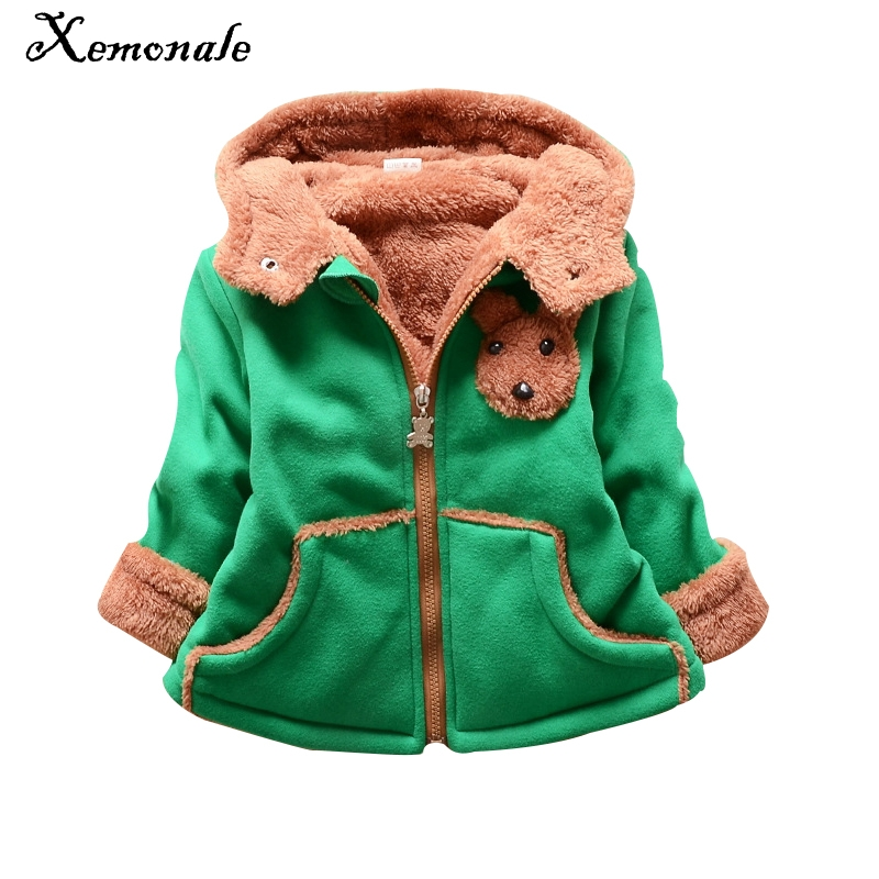 Xemonale 2017 Baby Boy Girl Clothes Kids Outerwear Children Clothing Cute Hooded Thick Velvet Jacket Baby Girls Winter Coat