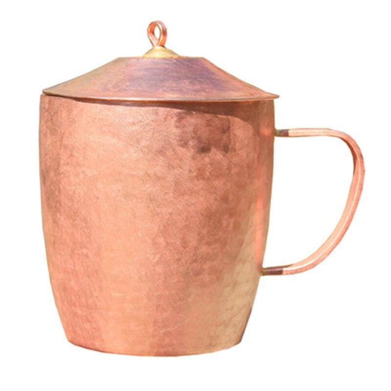 Klasyczny czysty miedź kubek filiżanka do herbaty kubek ręcznie grube stałe polerowane wysokiej jakości ręcznie czerwony miedziane kubki kubek z pokrywką 650 ml w Kubki od Dom i ogród na  Grupa 1