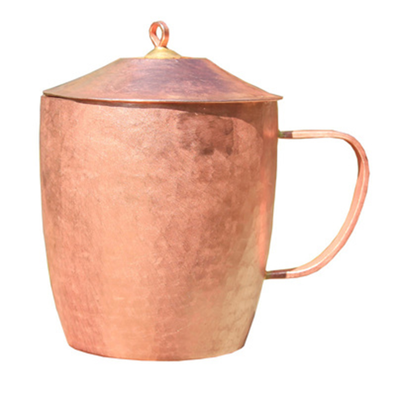 Tasse à thé classique en cuivre pur tasse à thé faite à la main épais solide poli de haute qualité tasses en cuivre rouge artisanal tasse avec couvercle 650 ml-in tasses from Maison & Animalerie    1