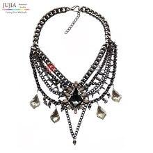 2017 Z diseño de moda al por mayor collar de vestuario chunky chian borla de cristal borla colgante, Collar babero joyería declaración