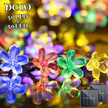 Solar String Lights 21ft 50 LED Fairy Flower Blossom Decorative Light Patio Party Xmas Tree Decorations 2-PACK Multi-color(China)