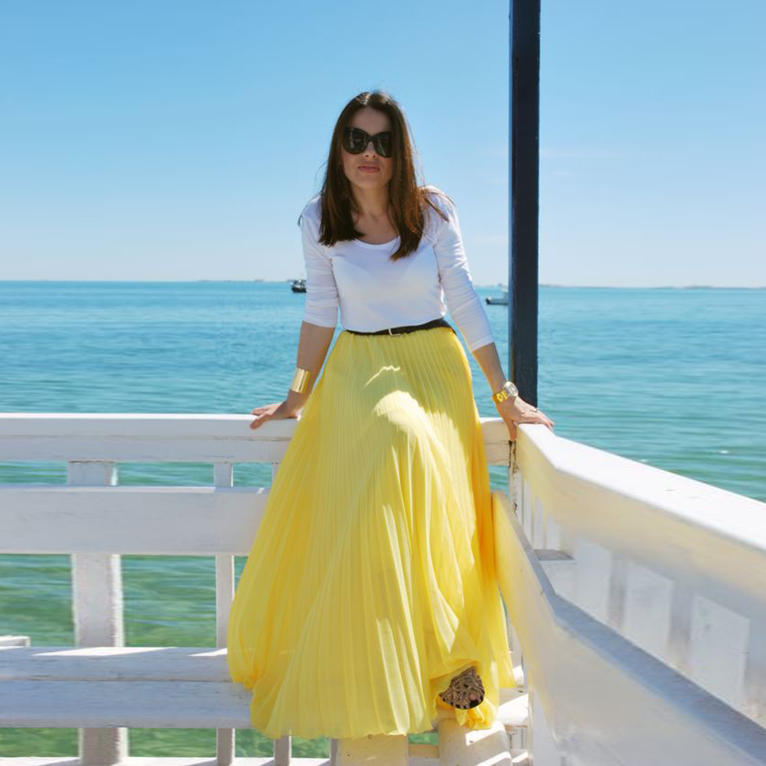d20160130 Bright Yellow Summer Beach Style Chiffon Skirts A Line Floor Length Long  Maxi Pleated Skirt Personalized Women Skirts