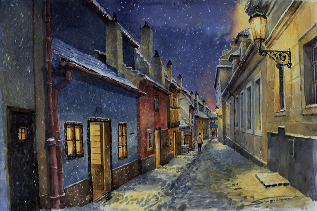 Landscape watercolor prints canvas painting giant posters masterpiece night street in the cities and castle home