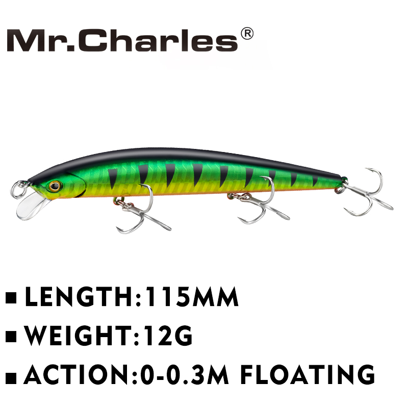 Mr.Charles CMC054 Fishing Lure 115mm/12g 0-0.3M FLOATING D Eyes Fishing Tackle Shad Minnow Hard Baits Crankbait Wobblers Fishing