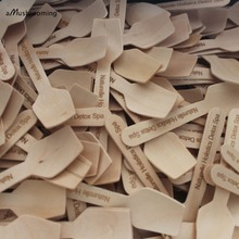 1000 pieces Ice Cream Spoons Sticks Spa Spoons Mini Wax Wooden Spatula Natural Wood Made Can Customized Text