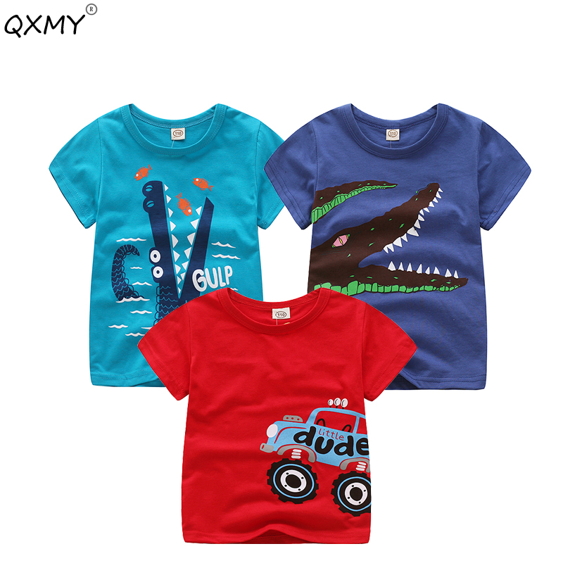 Baby Boys T Shirt Cotton Tops Tees For Boy Cartoon Car Print Kids Outwear children Clothes Tops 2-8 Year Boys Clothes(China)